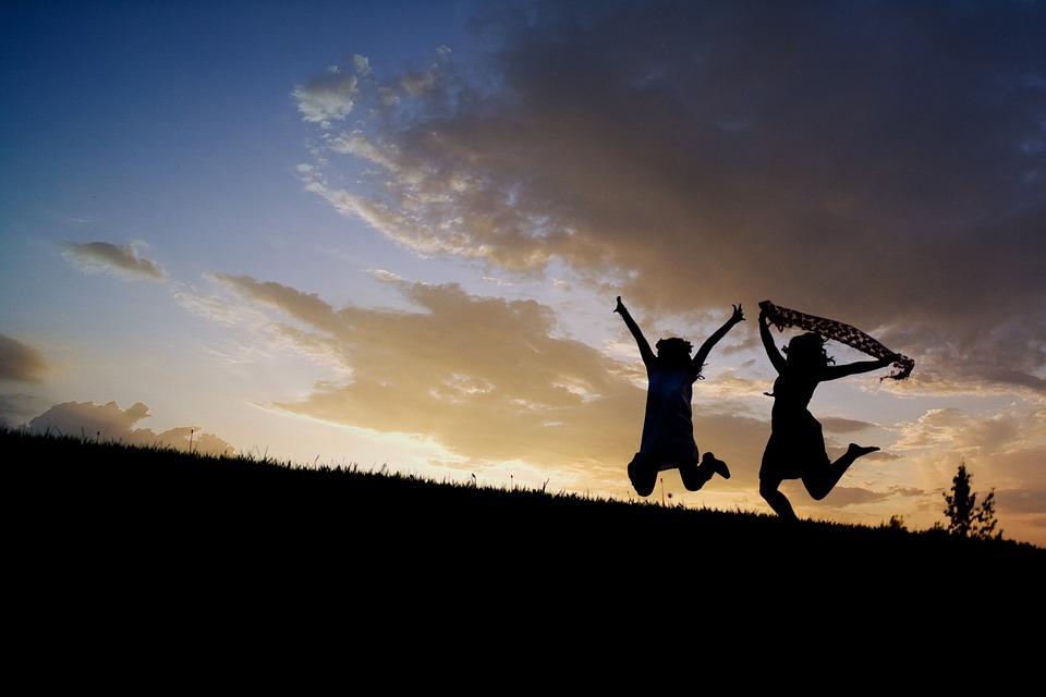 Girls, Jumping, Sunset, Silhouettes, Sunrise, Dusk