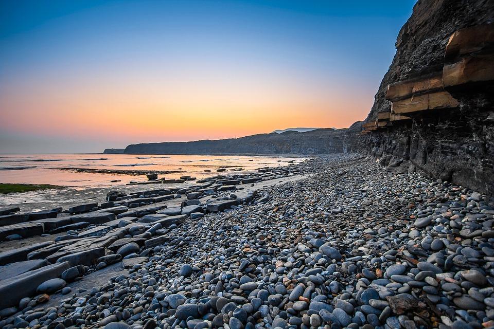 Jurassic Coast, England, Dorset, Kimmeridge Bay, Sunset