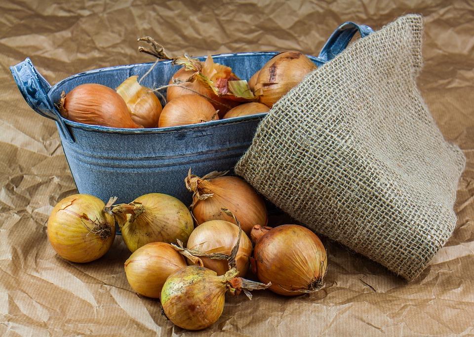 Onion, Bag, Jute, Paper, Fresh, Food, Kitchen, Farm