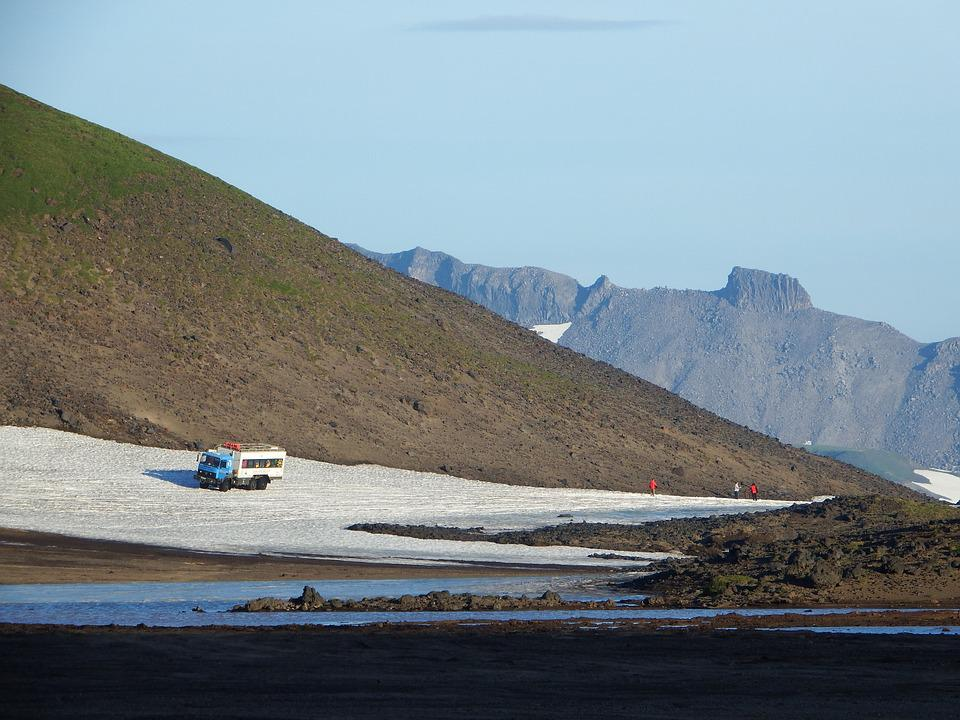 Kamchatka, Mountains, Rocks, Car, Tourists, Sneznik