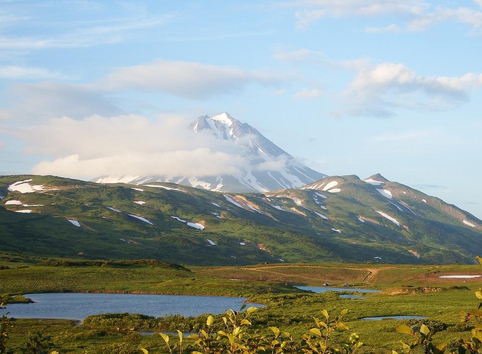 Kamchatka, Mountain Plateau, Volcano, Lake, Evening