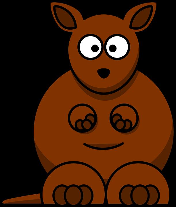 Kangaroo, Brown, Australia, Mammal, Cartoon, Wildlife