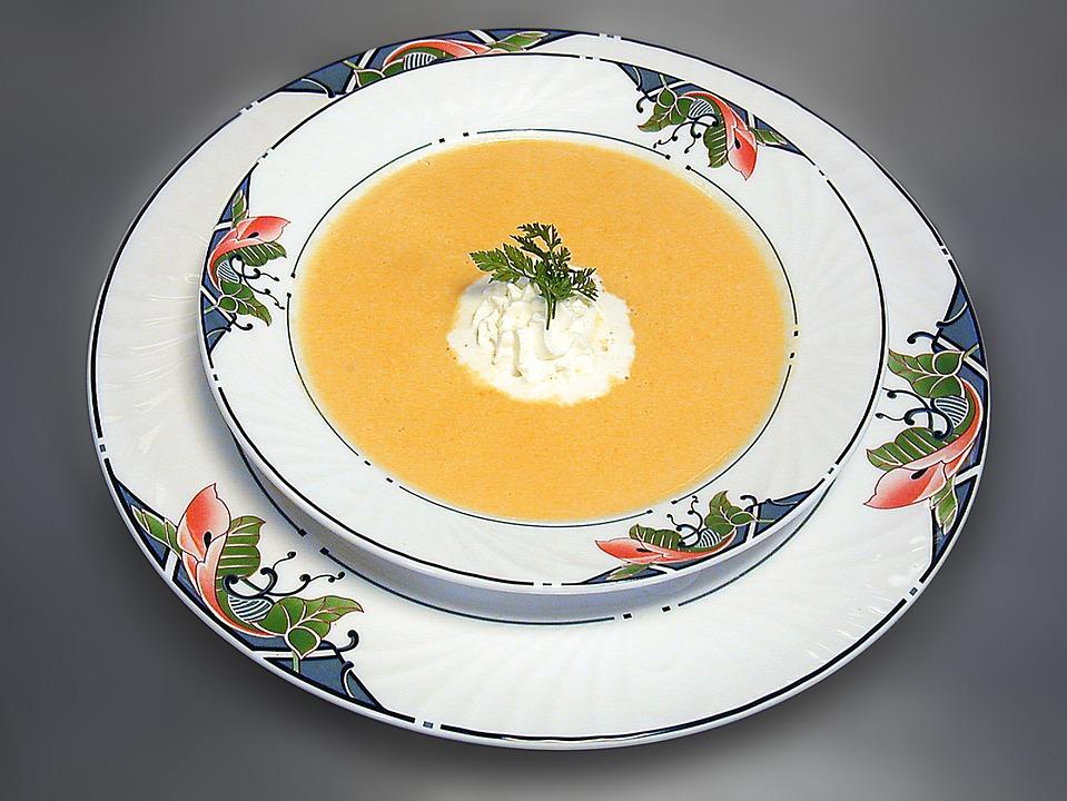 Soup, Starter, Gourmet, Carrot Soup, Karottencremesuppe