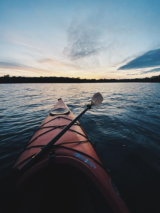 Kayak, Boat, Paddle, Kayaking, Lake, Sunset, Island