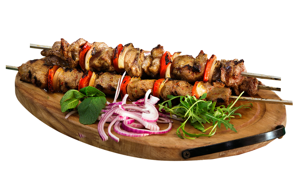 Skewer, Kebab, Barbecue, Food, Restaurant, Plate, Board