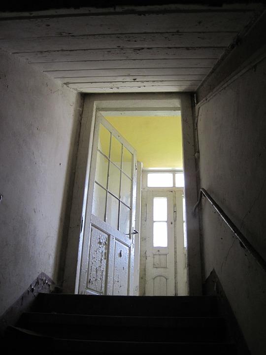 Door, Stairs, Keller, Light, Old, Broken, Wall