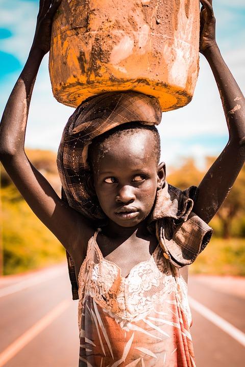Girl, Water, Jerrycan, Face, Sad, Kenya, Kenyan