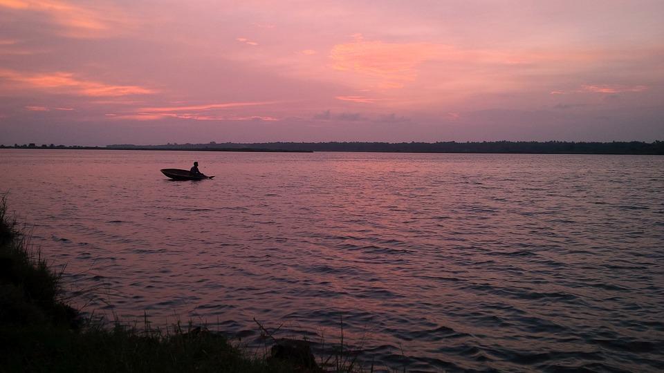 River, Kerala, Sunset, Evening, Water, Nature, Scenic