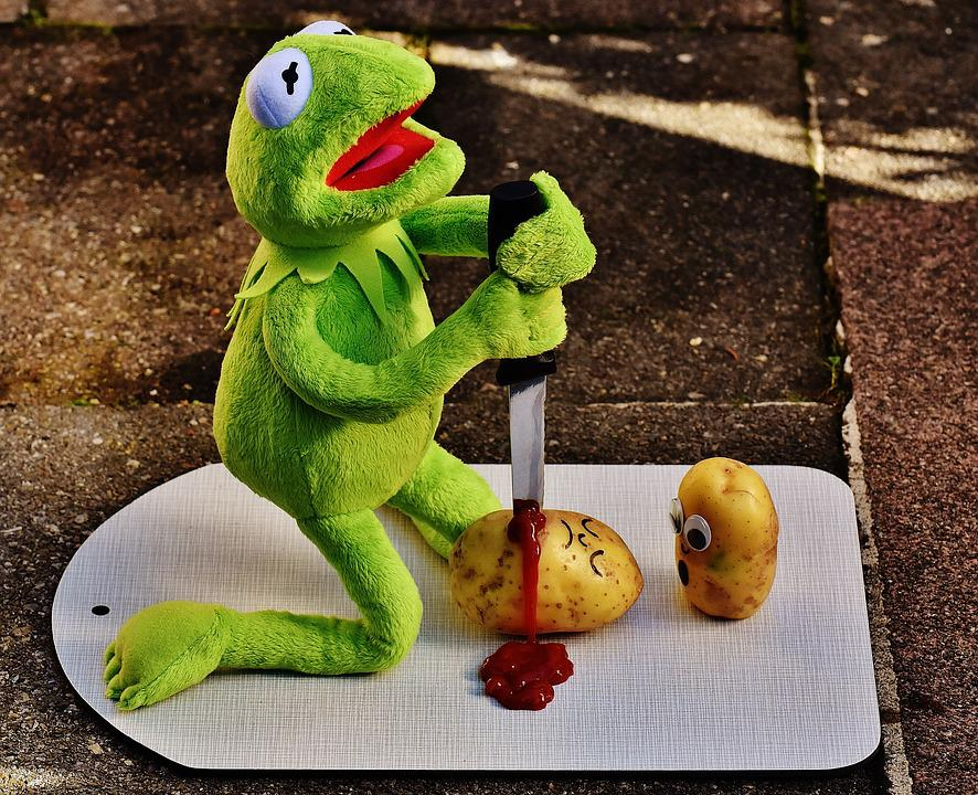 Free Images : cute, green, frog, yellow, knife, sit, ketchup ...