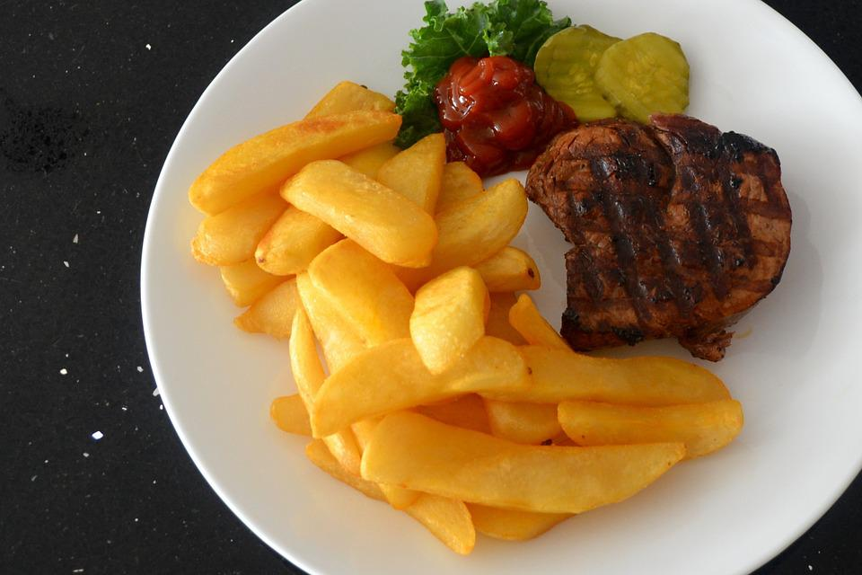 Steak, Fries, Ketchup, Pickles, White, Plate, Food