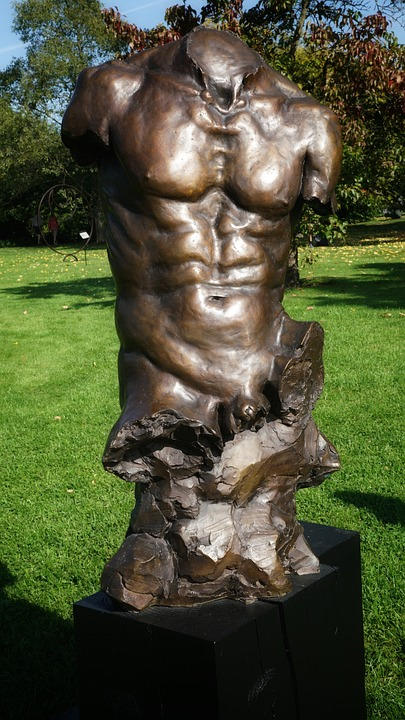 Male, Man, Torso, Art, Sculpture, Bronze, Kew Gardens