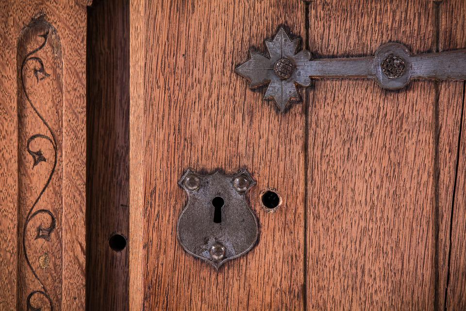 Key Hole, Hole, Door, Wood, Metal, Fitting, Ornament
