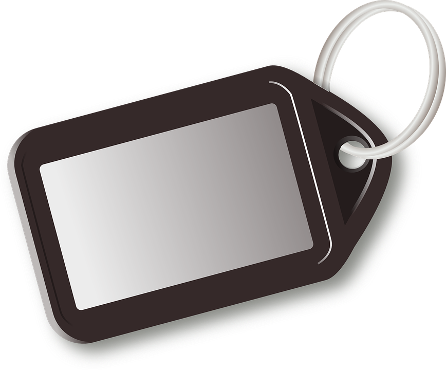Key Ring, Key, Tag, Label, Plain, Black
