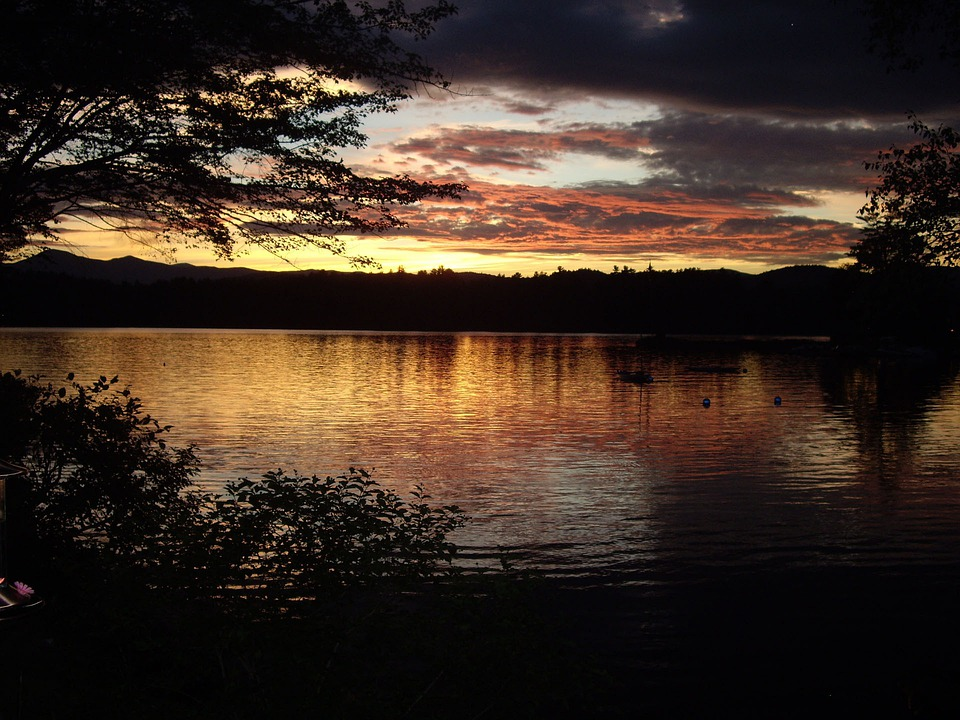 Kezar Lake, Sunset, Maine, Landscape, Wilderness