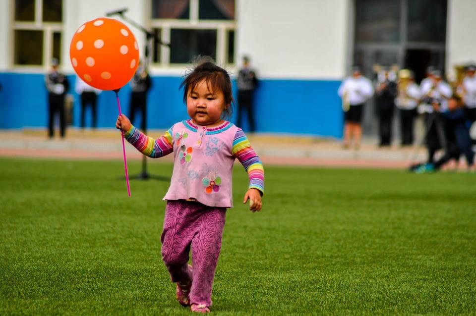 Kid, Girl, Happy, Child, Cute, Balloon, Green