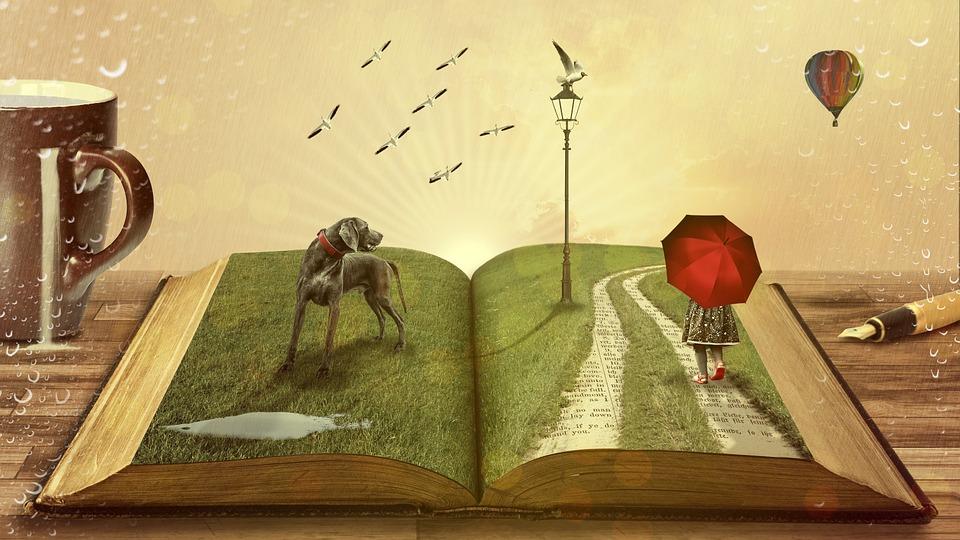 Book, Dog, Fairy Tales, Child, Kid, Umbrella