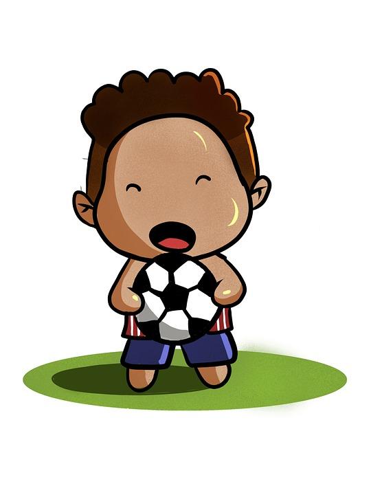 Cute Player, Football Player, Kid, Cartoon