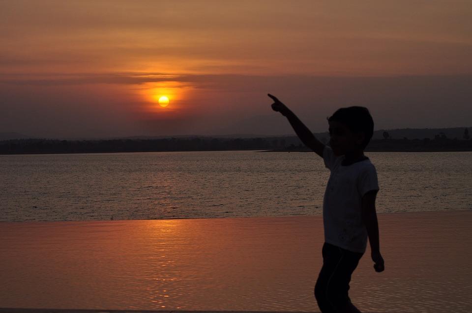 Evening, Goa, Twilight, Setting Sun, Kid, Sillhouette
