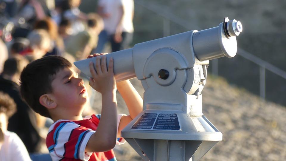 Kid, Binoculars, Spyglass, Observation, Travel, Watch