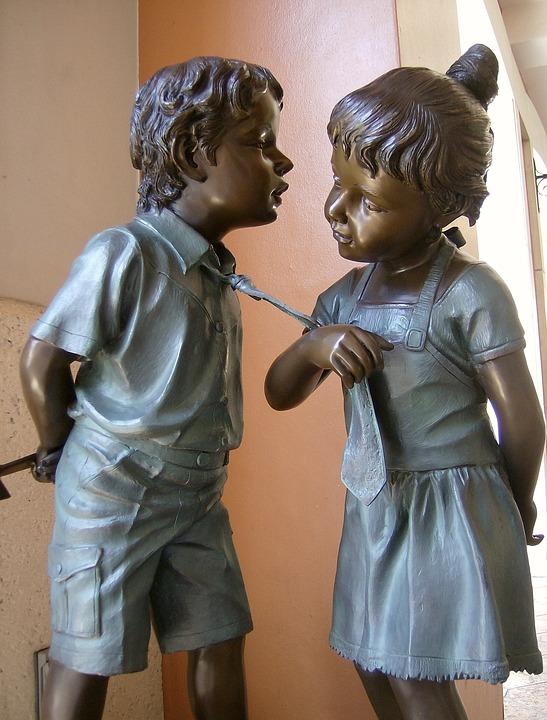 Statue, Kids, Children Statue