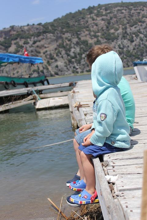 Turkey, Kids, River, Boys, On The Bridge