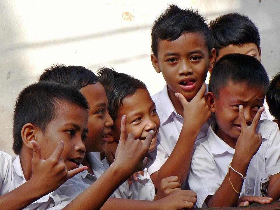 Indonesia, Bali, Schoolchildren, Playful, Kids