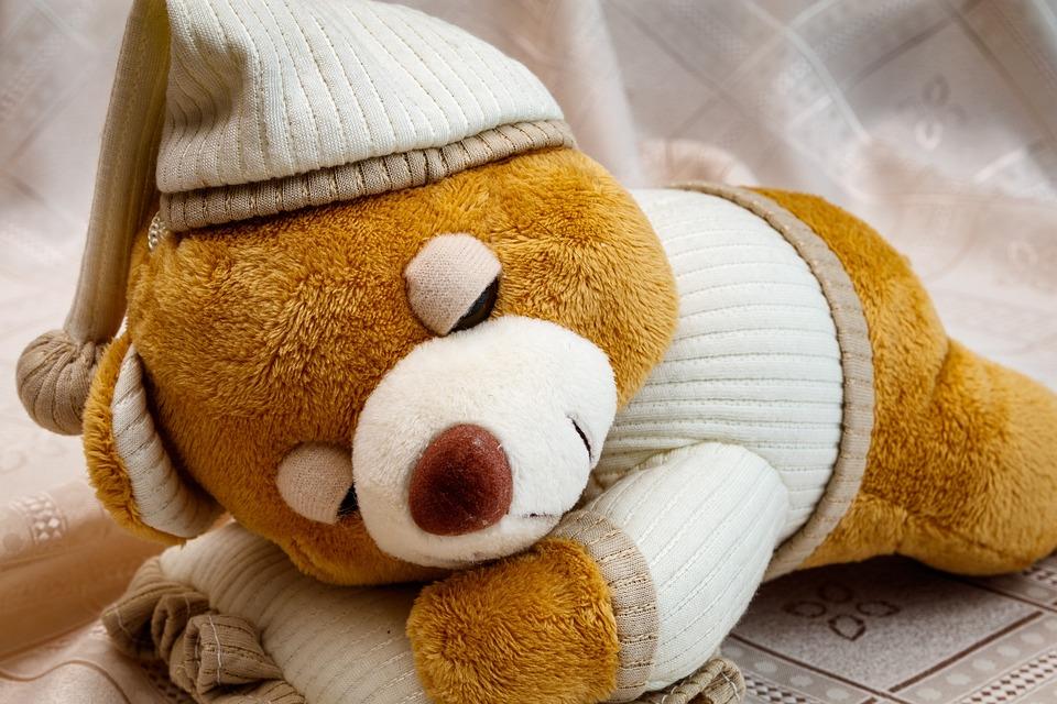 Soft Toy, Sleeping Bear, Baby Doll, Kids, Play, Toys