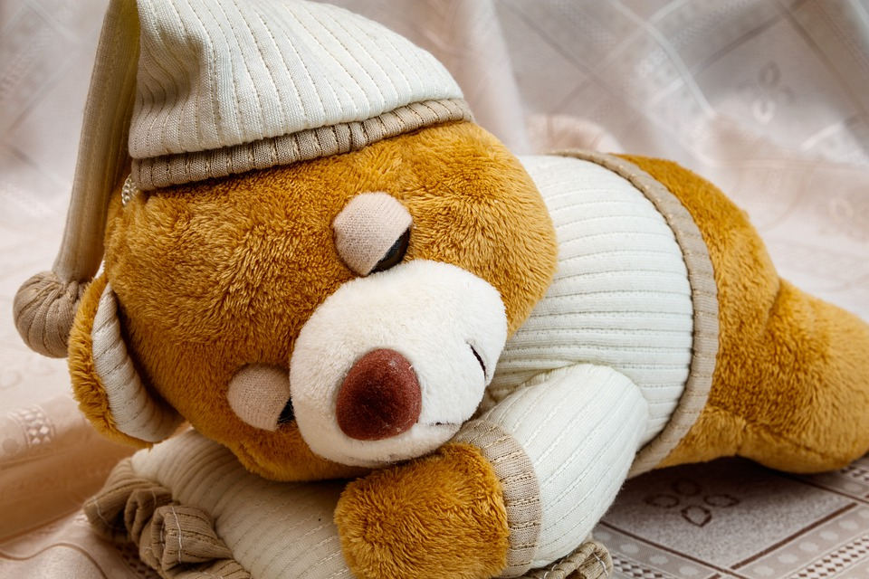 Soft Toy, Sleeping Bear, Baby Doll, Kids, Play, Toys