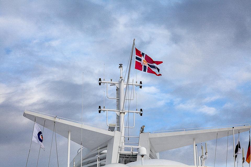 Norway, Flag, Ship, Ferry, Baltic Sea, Kiel, Oslo