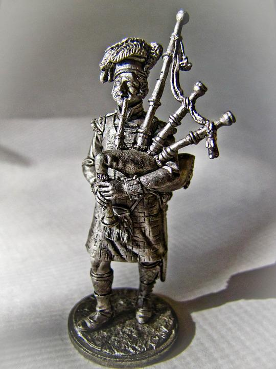 Tin, Soldier, Scotland, Bagpipes, Fighters, Beret, Kilt
