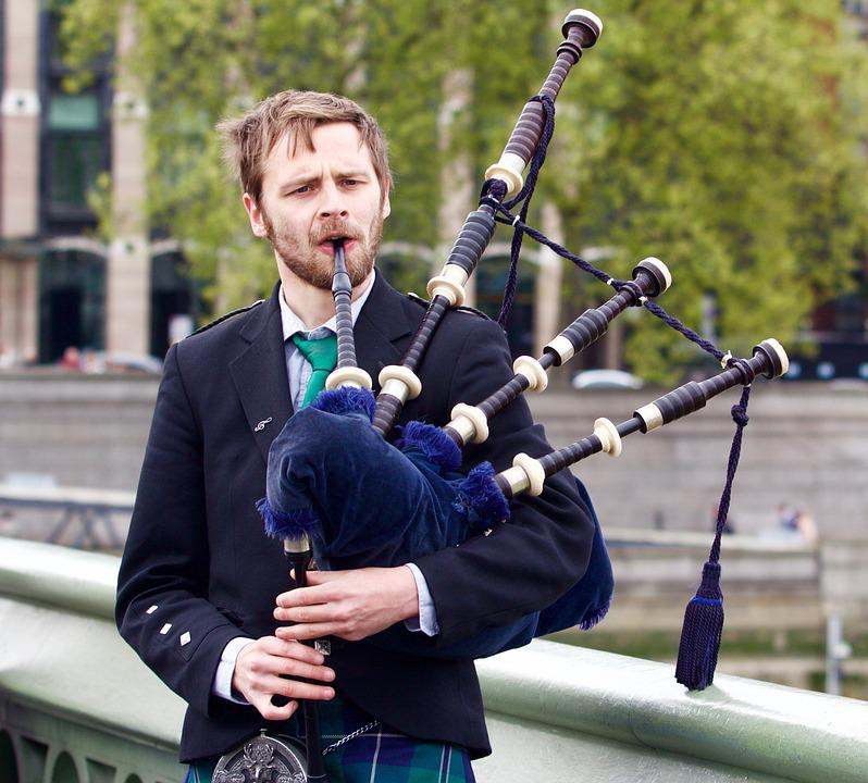 Pipe, London, Musician, Music, Kilt, English