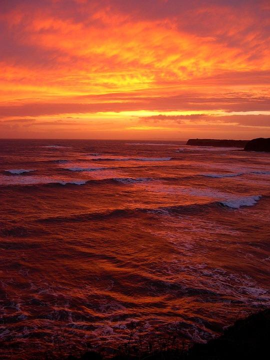 Kimmeridge Bay, Sunset, Sea, Waves, Bay, Ocean, Nature