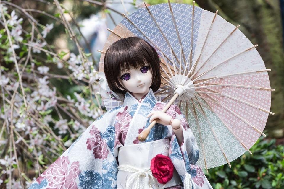 Nature, Lovely, Flower, Summer, Kimono, Umbrella