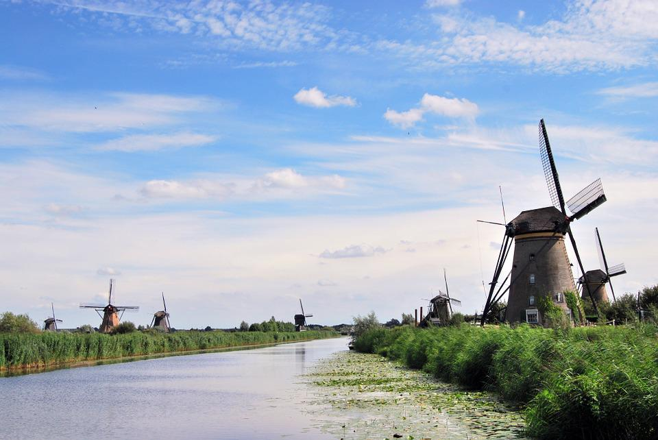 The Windmills, Kinderdijk, River, Netherlands, Channel