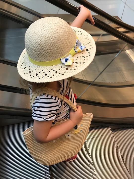 Human, Child, Hat, Handbag, Escalator, Kindermode, Girl