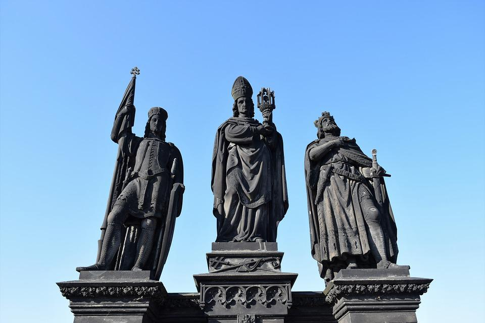 Statues, King, Knight, Warrior, Bishop, Monument