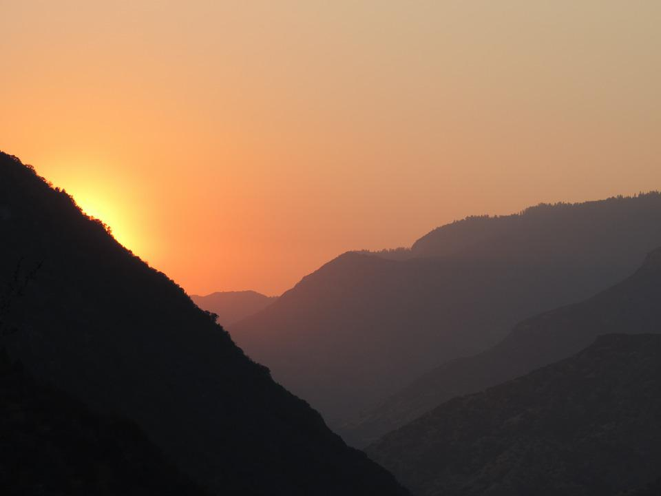 Sunset, Mountains, Valley, California, Kings Canyon