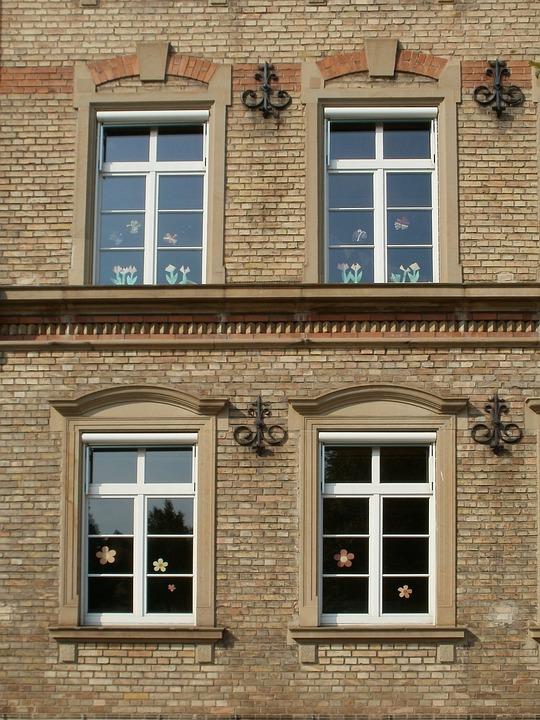 Windows, Facade, Goetheschule, Kirrlach, Building