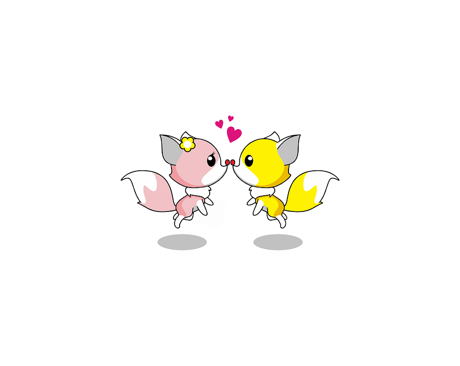 Fox, Love, Kiss, Animal, Cute, Cartoon, Design, Funny