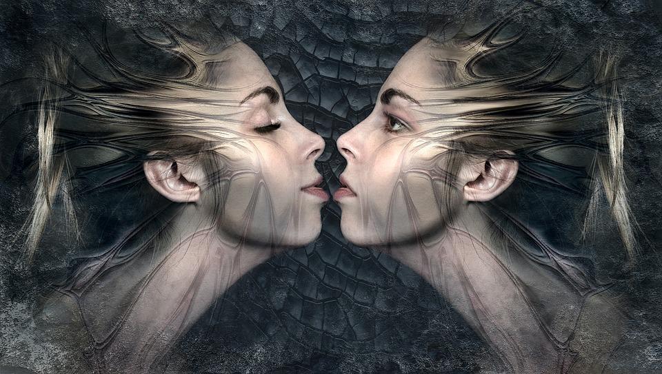 Fantasy, Twins, Kiss, Composing, Sensual, Woman, Beauty