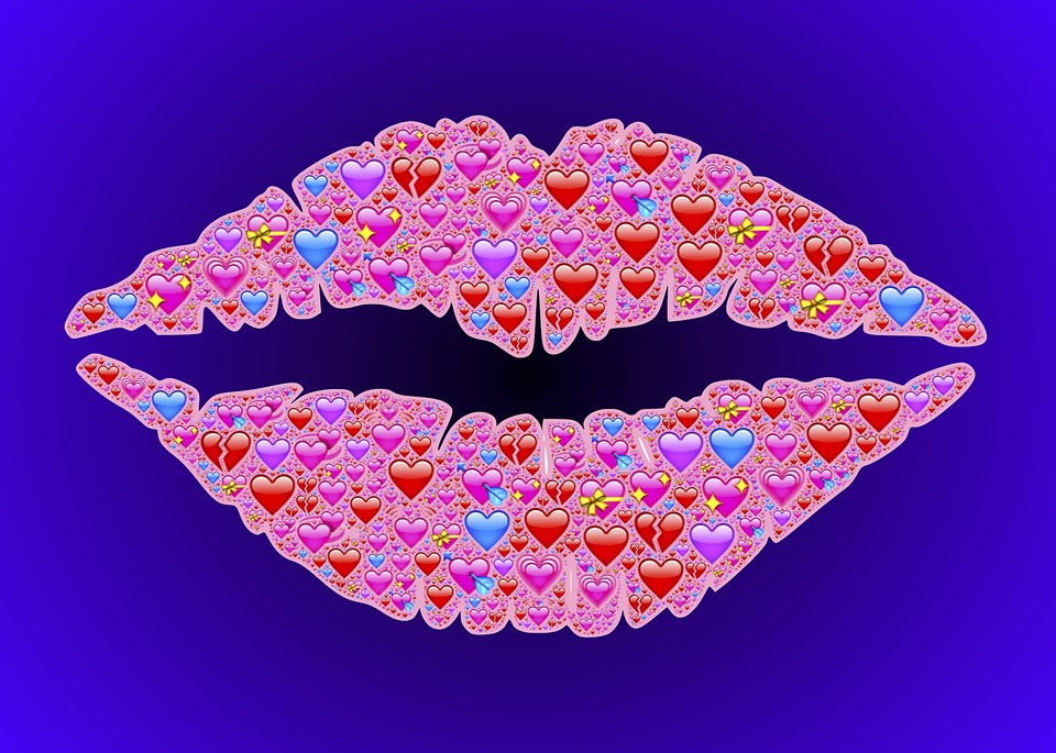 Kiss, Lips, Emoji, Hearts, Love, Affection, Sexy, Red