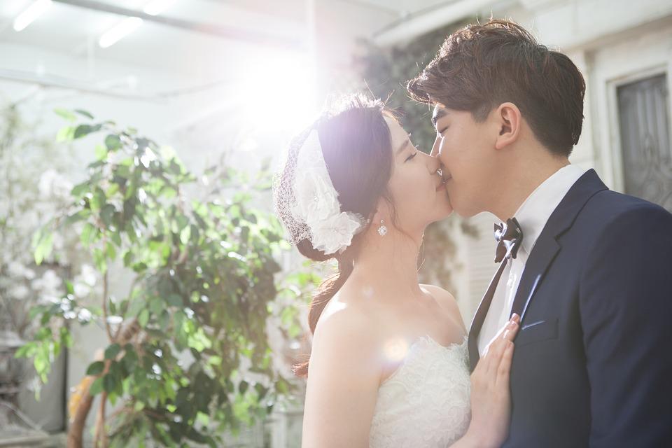 Couple, Marriage, Groom, Bride, Wedding, Love, Kiss