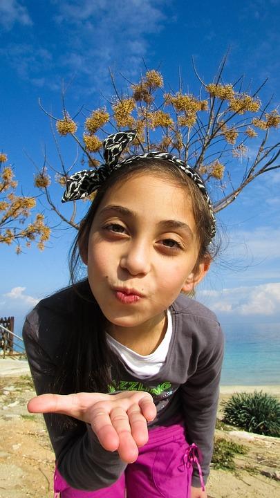 Air Kiss, Girl, Happy, Cute, Kisses