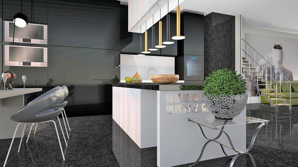 Marble, Chair, Kitchen, Modern, Lighting, Staircase