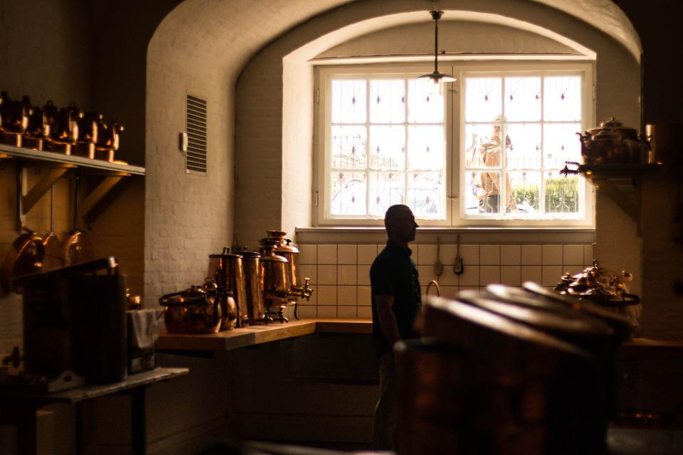 Kitchen, Lights, Sunset, Old, Vintage, Interior, Modern