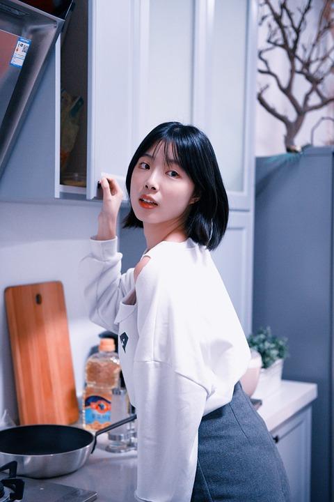 Japanese, Girls, Kitchen, Studio Shot