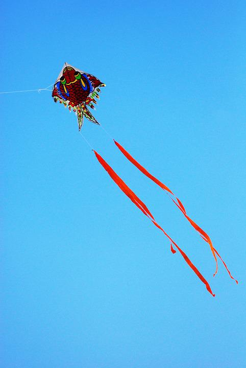 Kite, Blue Sky, Colorful, Play, Happiness, Activity