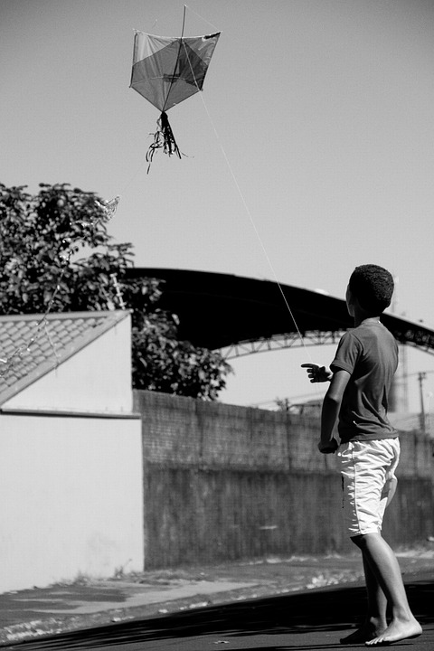 Kite, Fly A Kite, Child, Freedom, Street Play