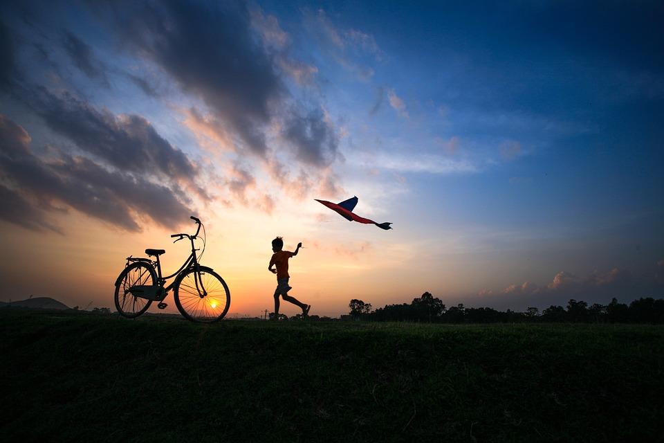 Field, Child, Bike, Kite, Sunset, Fun