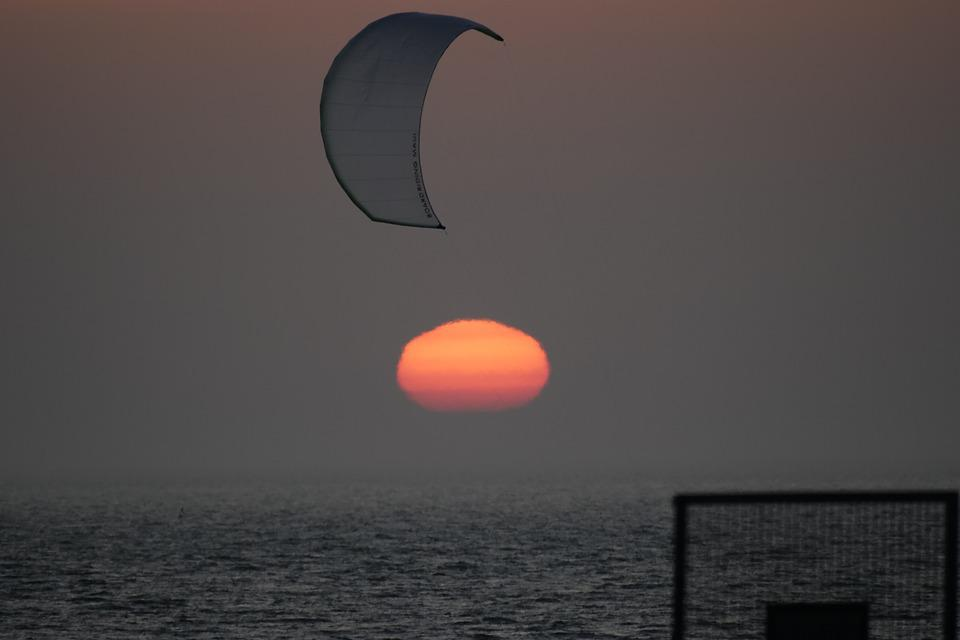 Sunset, Sky, Waters, In The Evening, Kiting, Kite